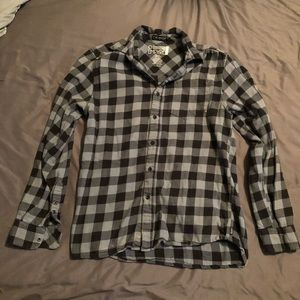 Tops - Light gray and black flannel